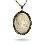Genuine River Shell Vintage Marcasite Cameo Pendant