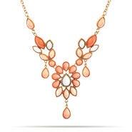 Peach Peardop Bib Necklace
