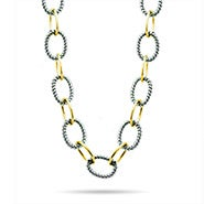 "Designer Inspired 24"" Oval Link Two Tone Statement Necklace"