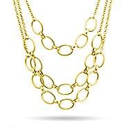 Three Layer Gold Chain Statement Necklace