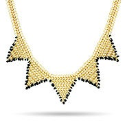 Black Beaded Chainmail Gold Spike Necklace