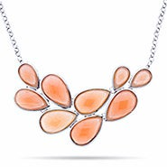Coral Pear Cluster Bib Necklace