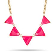 Pink and Gold Spike Statement Necklace