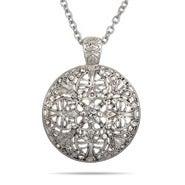 Vintage Style Round CZ Medallion Necklace