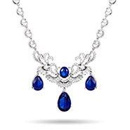 Dazzling Pearcut Sapphire CZ Statement Necklace