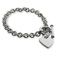 Designer Style Silver Heart Tag Bracelet