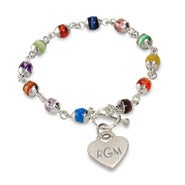 Engravable Cats Eye and Sterling Silver Heart Tag Bracelet