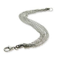 Sterling Silver Layered Italian Multi Strand Chain Bracelet
