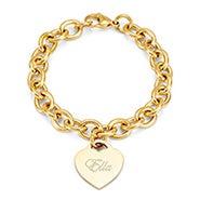 Designer Style Stainless Steel Gold Heart Tag Bracelet