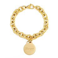 Designer Style Gold Plated Round Tag Bracelet