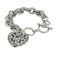Bali Style Black Enamel Heart Link Bracelet