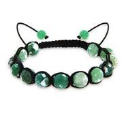 Genuine Stone Green Agate Strength Shamballa Style Bracelet