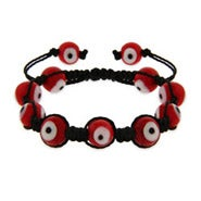 Red Evil Eye Shamballa Style Bracelet