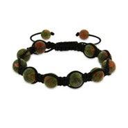 Green Agate Shamballa Style Bracelet