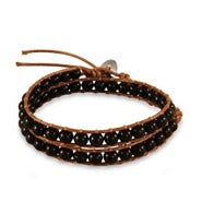 Chen Rai Genuine Onyx Brown Wrap Bracelet