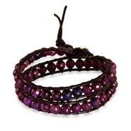 Chen Rai Genuine Amethyst Stone Agate Wrap Bracelet