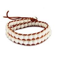 Chen Rai White Beaded Brown Wrap Bracelet