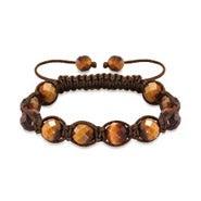 Tigers Eye Brown Cord Macrame Shamballa Style Bracelet