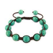 Turquoise Agate Shamballa Style Bracelet