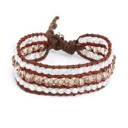 Chen Rai Cocoa and Quartz Leather Beaded Single Wrap Bracelet