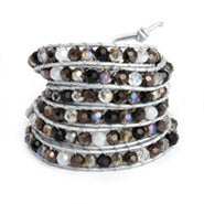 Chen Rai Jeweled Silver Leather Long 5 Row Wrap Bracelet