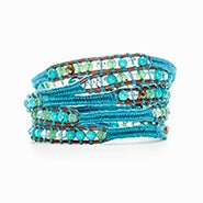 Chen Rai Woven Turquoise Cord with Mixed Gemstones Wrap Bracelet