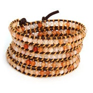 Chen Rai Golden Shades of Agate Long Wrap Bracelet on Dark Brown Leather