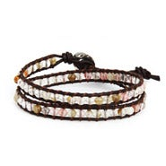 Chen Rai Slim Cherry Quartz Double Row Wrap Bracelet on Brown Leather