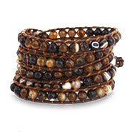 Chen Rai Shades of Brown Agate Beaded Long Leather Wrap Bracelet