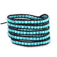 Chen Rai 5 Row Turquoise Wrap Bracelet on Brown Leather
