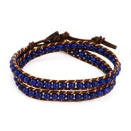 Chen Rai Sapphire Blue Bead Wrap Bracelet on Brown Leather