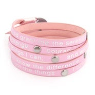 Pink Leather Serenity Prayer Wrap Bracelet