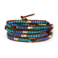 Chen Rai Turquoise and Crystal Mix Wrap Bracelet