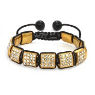 Golden Ice Crystal Square Cut Shamballa Inspired Bracelet