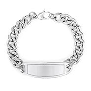 Engravable Wide Oval ID Stainless Steel Bracelet