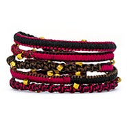 Chen Rai Red and Brown Gold Beaded Wrap Bracelet