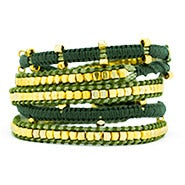 Olive Green and Gold Beaded Wrap Bracelet