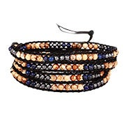 Chen Rai Four Row Lapis and Jasper Wrap Bracelet