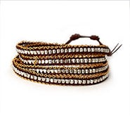 Chen Rai Silver Nuggets and Gold Chain Brown Wrap Bracelet