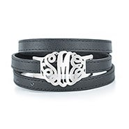 Custom Monogram Leather Wrap Sterling Silver Bracelet