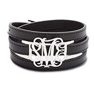 Sterling Silver Custom Fancy Script Monogram Leather Wrap Bracelet