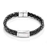 Engravable ID Bracelet In Black Braided Leather