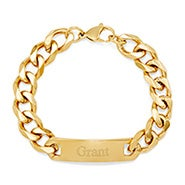 Men's Gold ID Engravable Bracelet with Curb Links