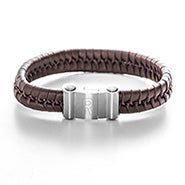 Men's Engravable Brown Leather Bracelet with Magnetic Clasp