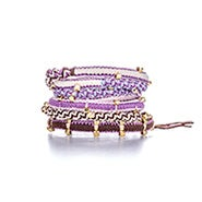 Chen Rai Purple and Pink Gold Beaded Wrap Bracelet