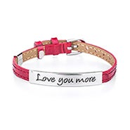 Engravable Love You More Red Leather Buckle Bracelet