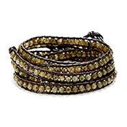 Chen Rai Five Row Faceted Brown Bead Wrap Bracelet