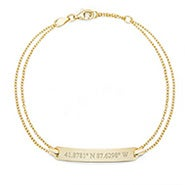 Custom Coordinate Gold Name Bar Bracelet