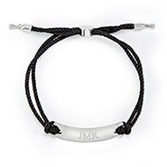 Engravable Bar Rope Bolo Bracelet in Black and Silver