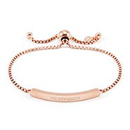 Roman Numeral Name Bar Rose Gold Bolo Bracelet